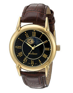 Celestial Sun Timepiece Luxury Moon Star Constellation Gold Watch Muller Brown Leather