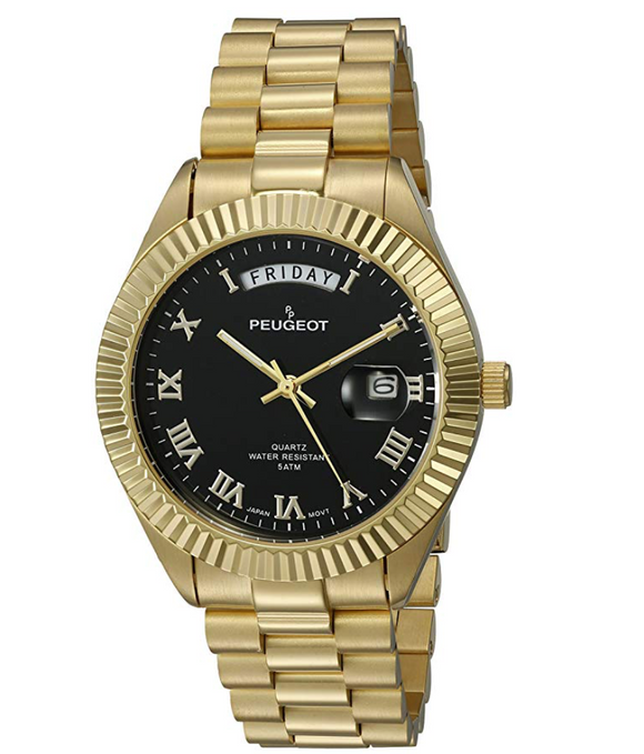 Black Face Gold Presidential Day Datejust Watch Quartz Roman Numeral Big Face Fluted Bezel Luxury