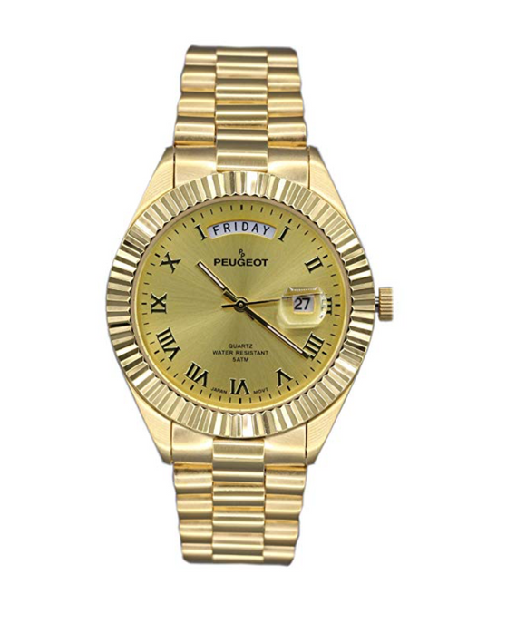 Gold Presidential Day Datejust Watch Quartz Roman Numeral Big Face Fluted Bezel Luxury Gift