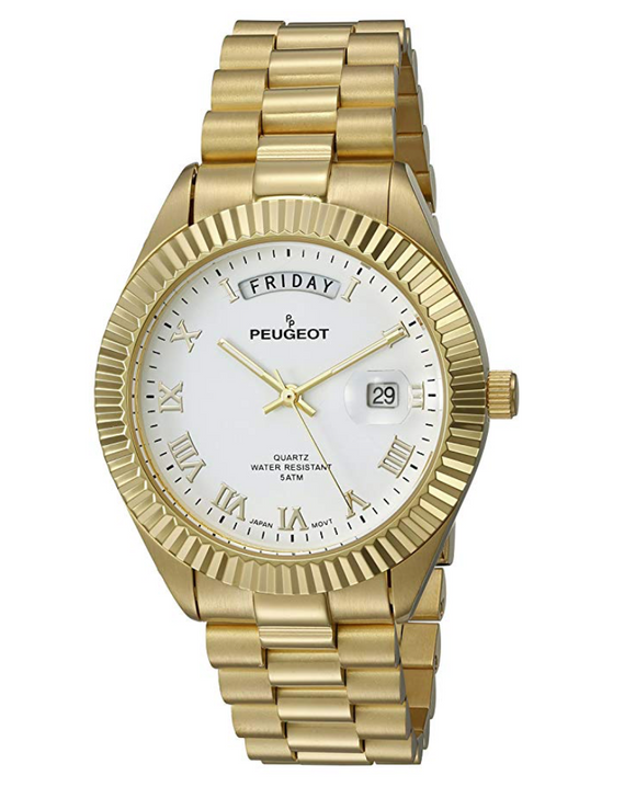 White Face Gold Color Presidential Day Datejust Watch Quartz Roman Numeral Big Face Fluted Bezel Luxury