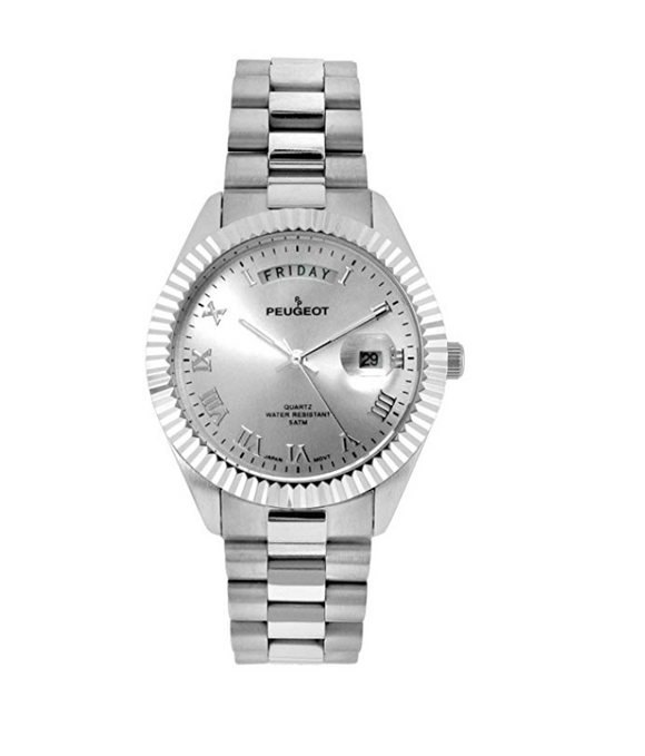Silver Color Presidential Day Datejust Watch Quartz Roman Numeral Fluted Bezel Luxury Gift