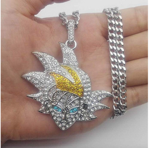 Silver Goku Diamond Chain Supreme Necklace Goku Dragonball Z Jewelry Hip Hop Rapper Dragon Ball Z Bling