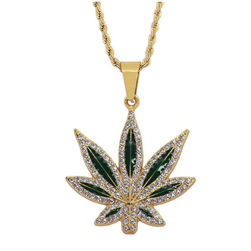 Green Leaf 420 Chain Weed Necklace Diamond Pendant Chain Supreme Necklace Hip Hop Bling 24in.