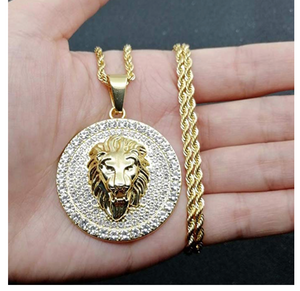 Gold Diamond Lion Head Necklace Lion of Judah Chain Hebrew Israelite Jewelry Silver Hip Hop Bling 24in.