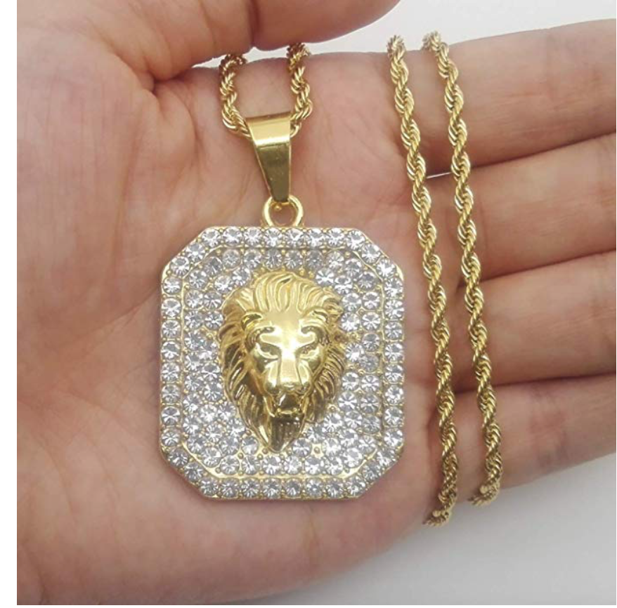 Lion Head Chain Versace Necklace Lion Judah Hebrew Israelite Jewelry Diamonds Gold Necklace 24in