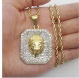 Lion Head Necklace Lion of Judah Chain Hebrew Israelite Jewelry Leo Silver Hip Hop Bling Gold Color Metal Alloy Simulated-Diamond 24in.