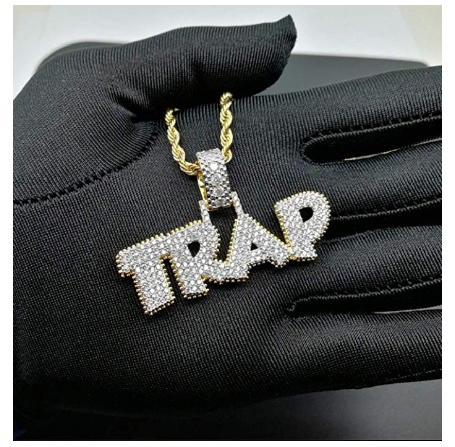 Trap Chain Diamond Gold Savage Necklace Supreme Hip Hop Jewelry Bling Trap Iced Out 24in.