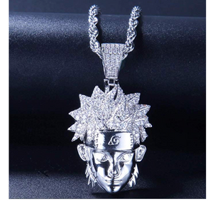 Anime Gift Jewelry Silver Accessories Gold Chain. 24in NARUTO Necklace Leaves Ninja Headband Pendant