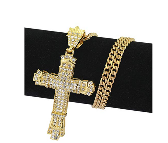 Gold Diamond Cross Necklace Jesus Holy Cross Chain Hip Hop Diamond Cross Pendant 24in.