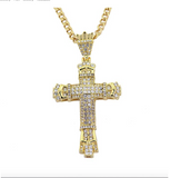 Cross Necklace Jesus Holy Cross Chain Hip Hop Simulated Diamond Cross Pendant Gold Color Metal Alloy 24in.