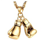 Boxing Gloves Necklace Silver Gold Color Metal Alloy Boxing Gloves Chain Fighter Boxing Jewelry 24in.