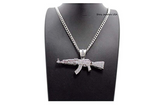 AK-47 Gun Pendant Necklace AK-47 Diamond Chain Silver Hip Hop Bling Jewelry Gold Color Metal Alloy 24in.
