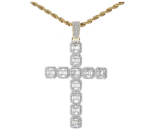 Baguette Square Cross Diamond Pendant Men Cross Necklace Silver Jewelry Iced Out Baguette Gold