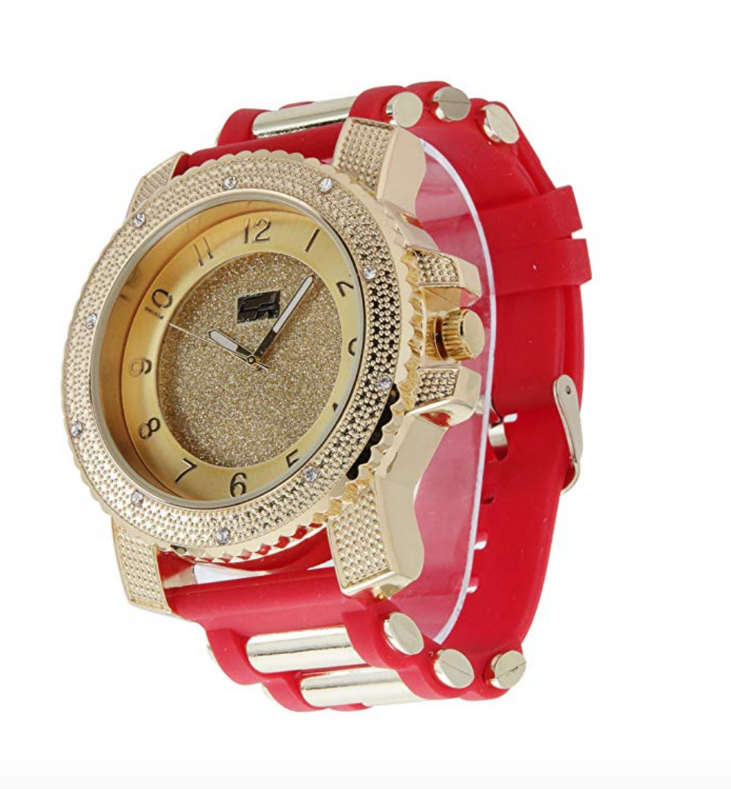 Big Face Bust Down Watch Hip Jewelry Red Band Watch Diamonds Big Face Gold Diamond Watch