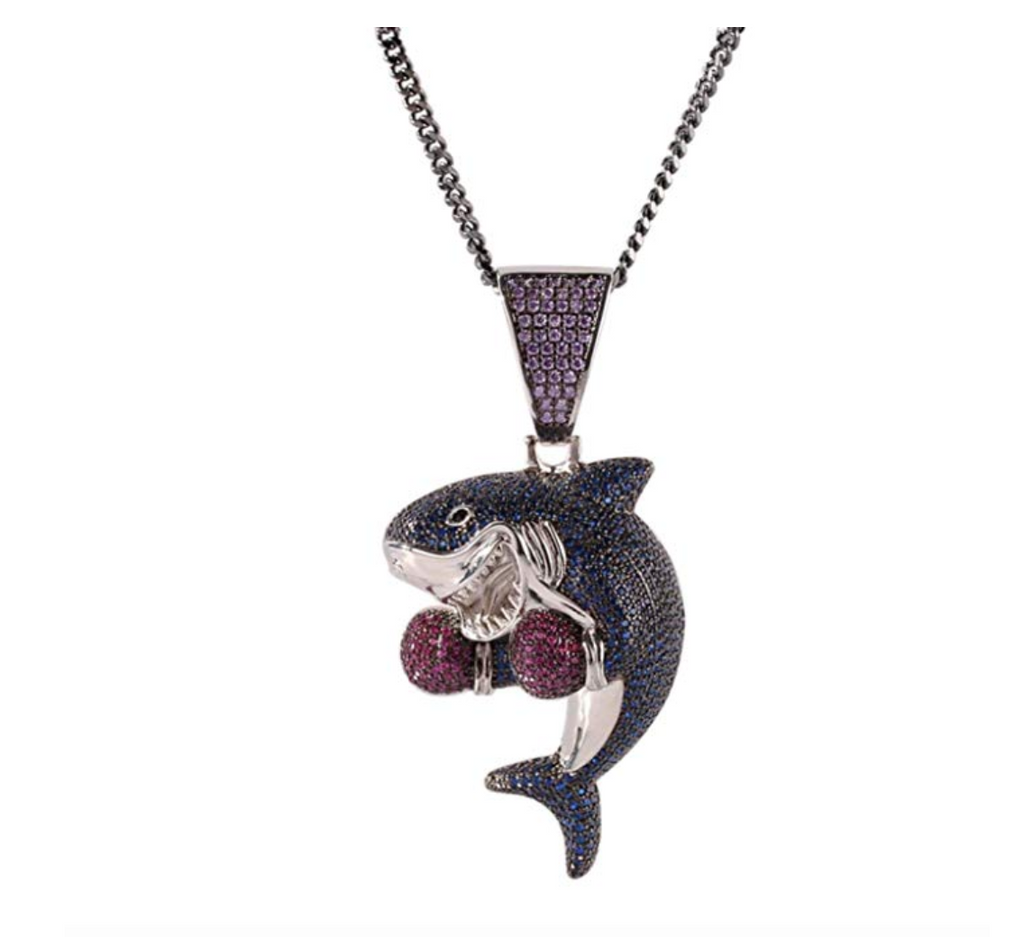 Young Dolph Blue Diamond Shark Boxing Jewelry Supreme Gold Necklace