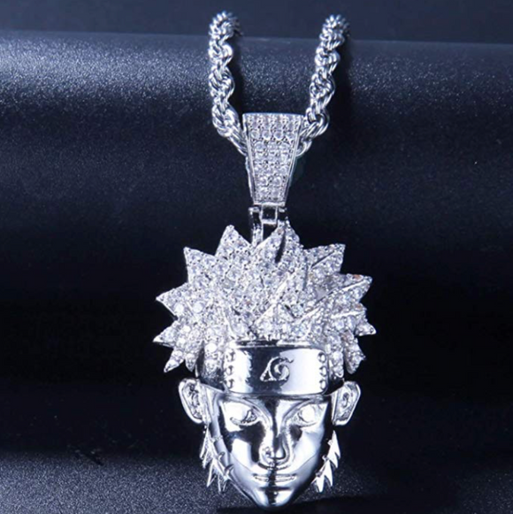 Naruto Headband Necklace Gift Naruto Jewelry Silver Chain Gold Naruto Leaves Ninja Pendant 24in.