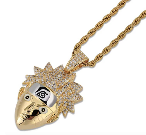 Gold Naruto Necklace Gift Naruto Jewelry Silver Chain Naruto Leaves Ninja Headband Pendant 24in.