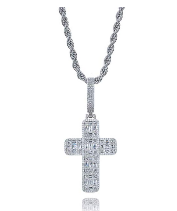 Jesus Cross Baguette Square Hip Hop Cross Diamond Pendant Men Cross Necklace Silver Face 24in