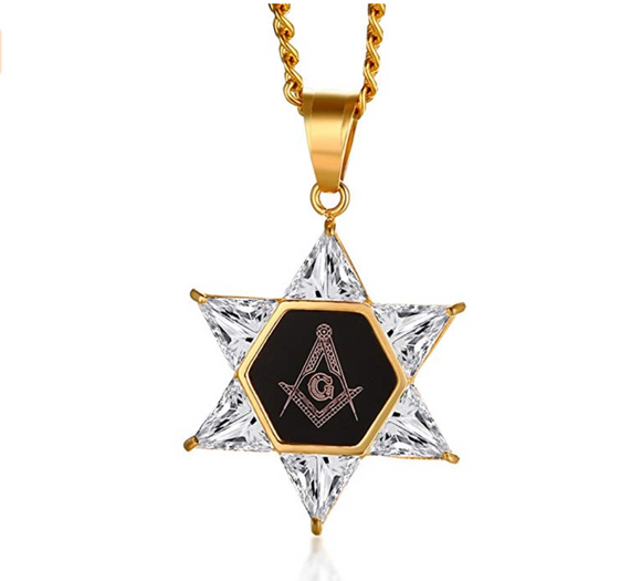 Star of David Necklace Freemason Masonic Diamond Chain G Pendant Mason Gold Past Master Mason 24in.