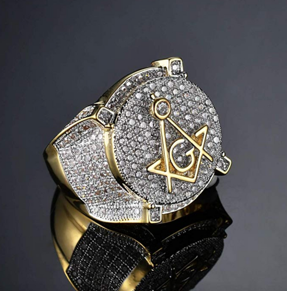 Freemason Simulated Diamond Ring Gold Tone Freemason Ring Masonic Hip Hop Ring