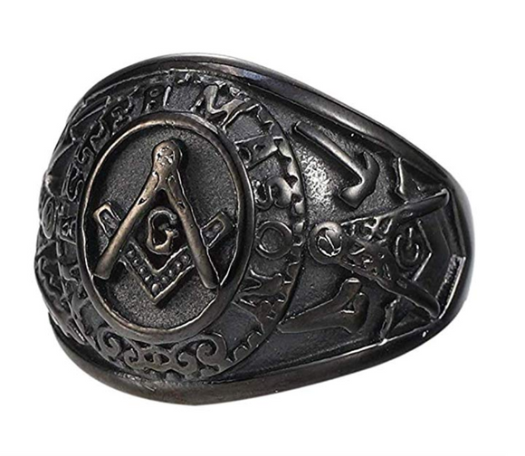 Black Freemason Master Mason Ring Masonic Square & Compass G Ring Regalia Gift