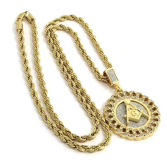 Miami Cuban Link Chain Freemason Necklace Diamonds Masonic Hip Hop Pendant G Gold Mason Compass