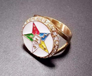 White Jewelry Order of The Eastern Star Diamond Gold OES Women Mason Ring Masonic Gift