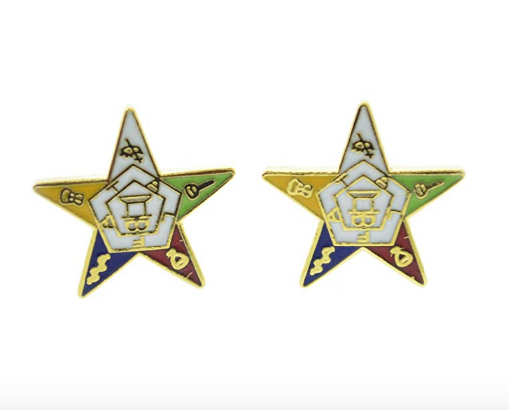 Order of The Eastern Star Gold Earings OES Women Masonic Gift Sisterhood Jewelry