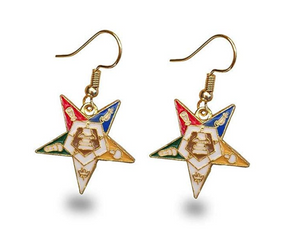 OES Women Earnings Masonic Gift Sisterhood Jewelry Order of The Eastern Star Gold Earings