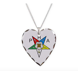 PHA Silver Heart Eastern Star Necklace Freemason OES Pendant Masonic Gift Chain Sisterhood