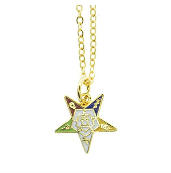 OES Pendant Masonic Gift Gold OES Chain Sisterhood Eastern Star Necklace Freemason
