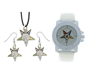 Women's Watch OES Gift Necklace Earrings Masonic Star Freemason Jewelry Order of The Eastern Star