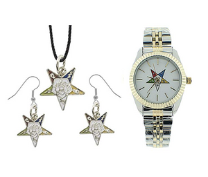 2 Tone Gold Silver OES Gift Necklace Earrings Masonic Jewelry Watch Order of The Eastern Star Mason