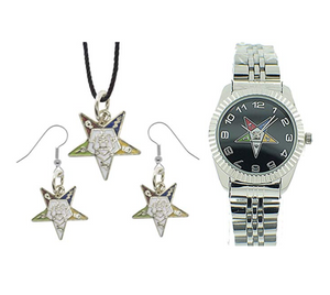 Silver Women's Watch Order of The Eastern Star OES Gift Necklace Earrings Masonic Star Freemason Jewelry