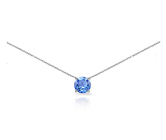 Sterling Silver Solitaire Choker Necklace Breeze Swarovski Crystal Birthday Diamond Anniversary Gift