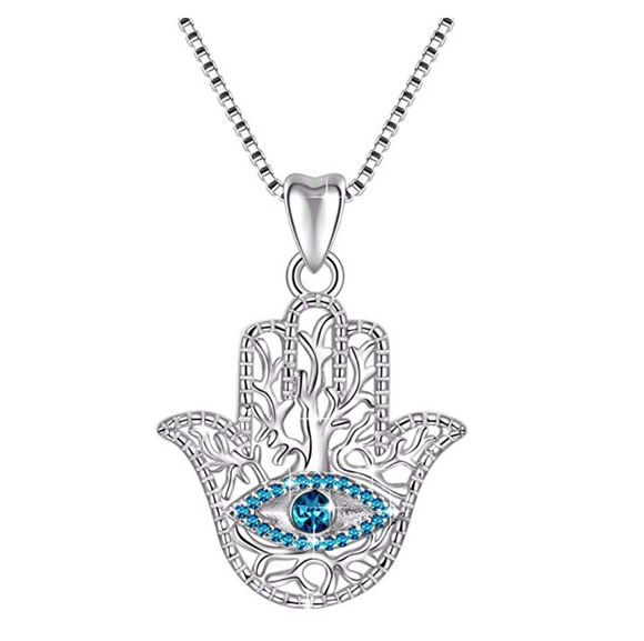 Silver Jewelry Blue Evil Eye Protection Fatima Necklace Hamsa Hand Muslim Lucky Charm Chain Islamic