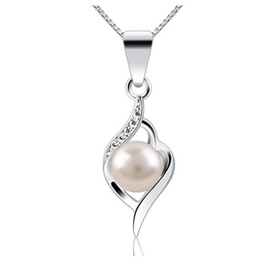 Fresh Water Pearl Zirconia Crystals Swarovski Diamond Silver Necklace Breeze Tropical Clam Sea Shell