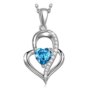 Sapphire Blue Heart Diamond Silver Necklace Twist Design Islamic Jewelry Allah Gift Heart Necklace