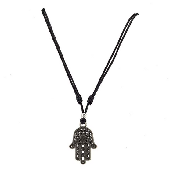 Black Hamsa Hand Fatima Necklace Evil Eye Lucky Charm Kabbalah Jewish Merkaba Jewelry Allah Muslim Adjustable Cord