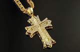 Jesus Cross Necklace Iced Out Holy Cross Gold Simulated Diamond Pendant Hip Hop Chain Silver Color Metal Alloy 30in.