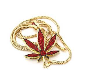 Red Leaf 420 Chain Weed Necklace Diamond Pendant Hip Hop Rapper Green Marihuana Chain Gold Silver Color Metal Alloy 24in