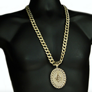 Gold Freemason Necklace Miami Cuban Link Chain Masonic Diamond Chain Hip Hop Prince Hall 30in.