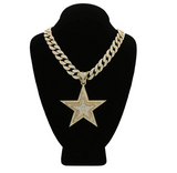 Cuban Link NBA Young Boy Star Chain Gold Color Metal Alloy Pendant Hip Hop Star Jewelry Simulated Diamond Star Necklace