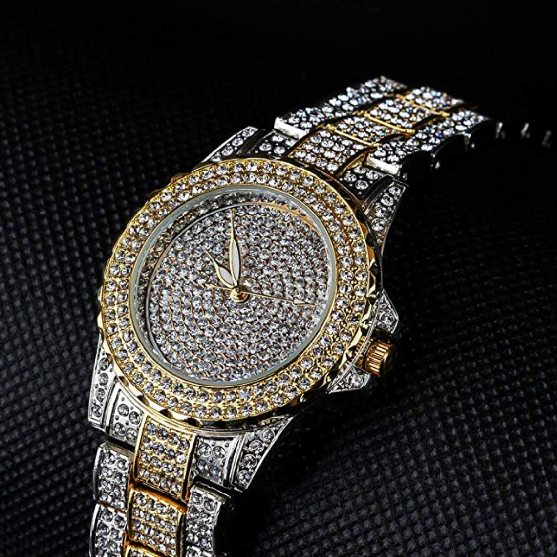 2-Tone Gold Silver Diamond Watch Bust Down Hip Hop Jewelry Watch Iced Out Watch Bling
