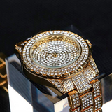 Iced Out Gold Color Watch Simulated Diamond Watch Bust Down Hip Hop Bling Jewelry
