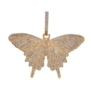 Gold Butterfly Necklace Diamond Butterfly Pendants Chain Silver Butterfly Iced Out Hip Hop Chain 24in