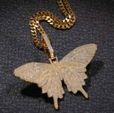 Butterfly Necklace Simulated Diamond Butterfly Pendants Chain Butterfly Necklace Iced Out Hip Hop Chain Silver Gold Color Metal Alloy 24in