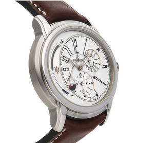 42mm x 45mm SILVER AUDEMARS PIGUET MILLENARY DUAL-TIME MASERATI WATCH BROWN LEATHER DRESS WATCH AP