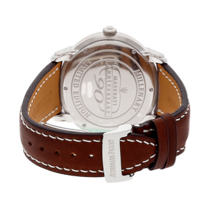 SILVER AUDEMARS PIGUET MECHANICAL WATCH 42mm x 45mm MILLENARY DUAL-TIME MASERATI LIMITED EDITION PRE-OWNED AUDEMARS PIGUET BROWN LEATHER DRESS WATCH AP