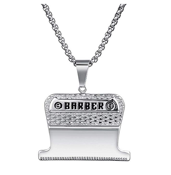 Silver Barber Necklace Clipper Blade Jewelry Barber Diamond Barbershop Chain 24in